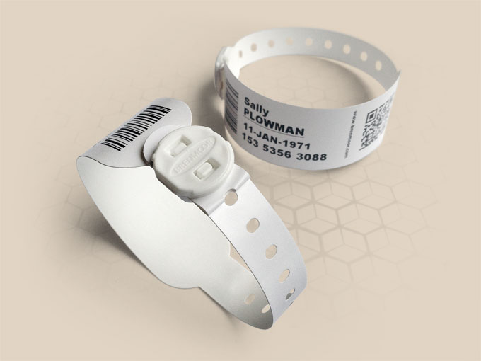 Brenmoor FAST1STB white SATO compatible printable patient hospital bracelet
