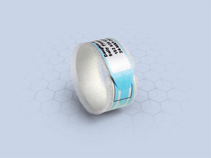Brenmoor BABYSOFT250N blue slim extra care sticker seal printable patient hospital bracelet