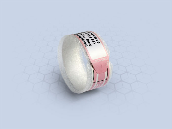 Brenmoor BABYSOFT250N pink slim extra care sticker seal printable patient hospital bracelet