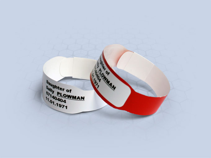 Brenmoor INFA125 white sticker seal printable patient hospital bracelet