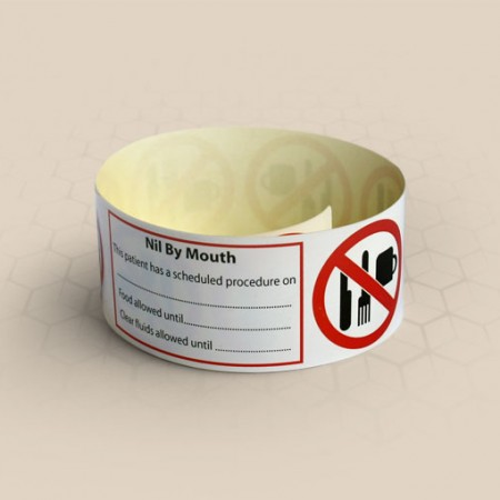 Brenmoor NIL by MOUTH alert self sealing printable patient hospital bracelet
