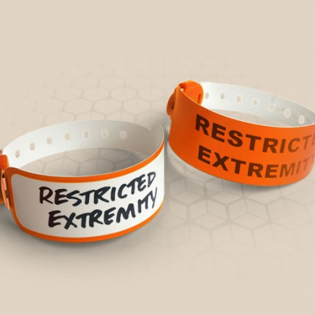 Brenmoor VIVID orange coloured alert printable patient hospital bracelet