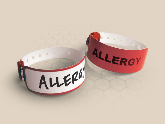 Brenmoor VIVID red coloured alert printable patient hospital bracelet