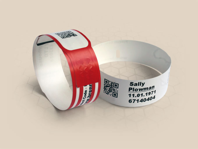 Brenmoor BM1061 white slim self-sealing printable patient hospital bracelet